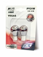 "Лампа AVS Vegas CHROME в блистере 12V. PY21W(BAU15S) ""orange"" смещ. цоколь - 2 шт. A07112S"